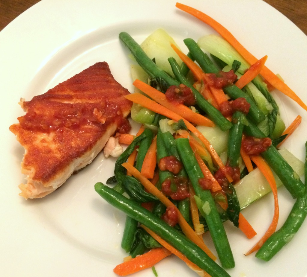 salmon and gingery green beans and bok choy