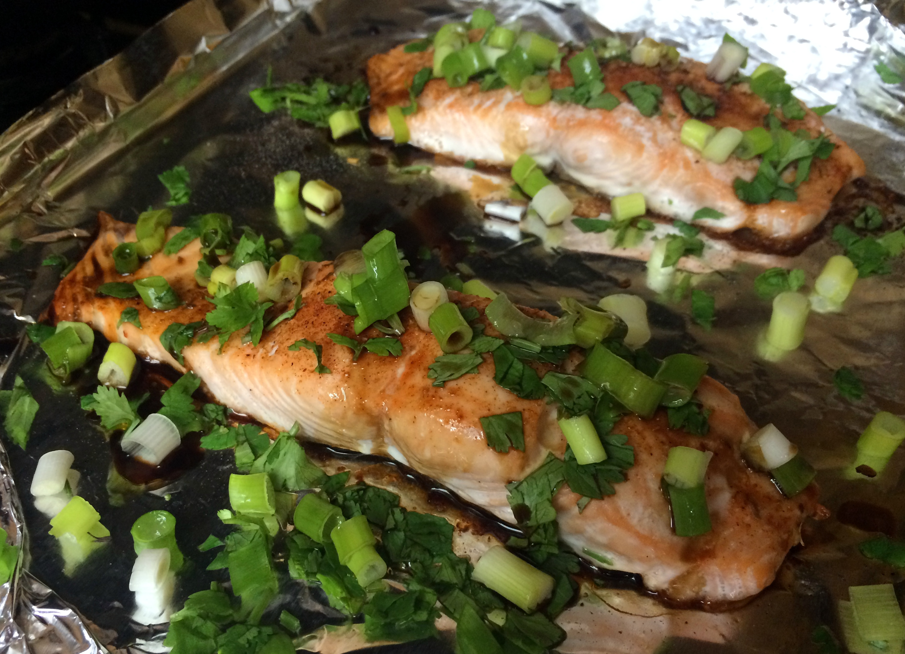 Tent with a piece of foil for approximately 10 minutes. Tented salmon & Oven-roasted Salmon with Cilantro and Green Onions Recipe - Jeans ...