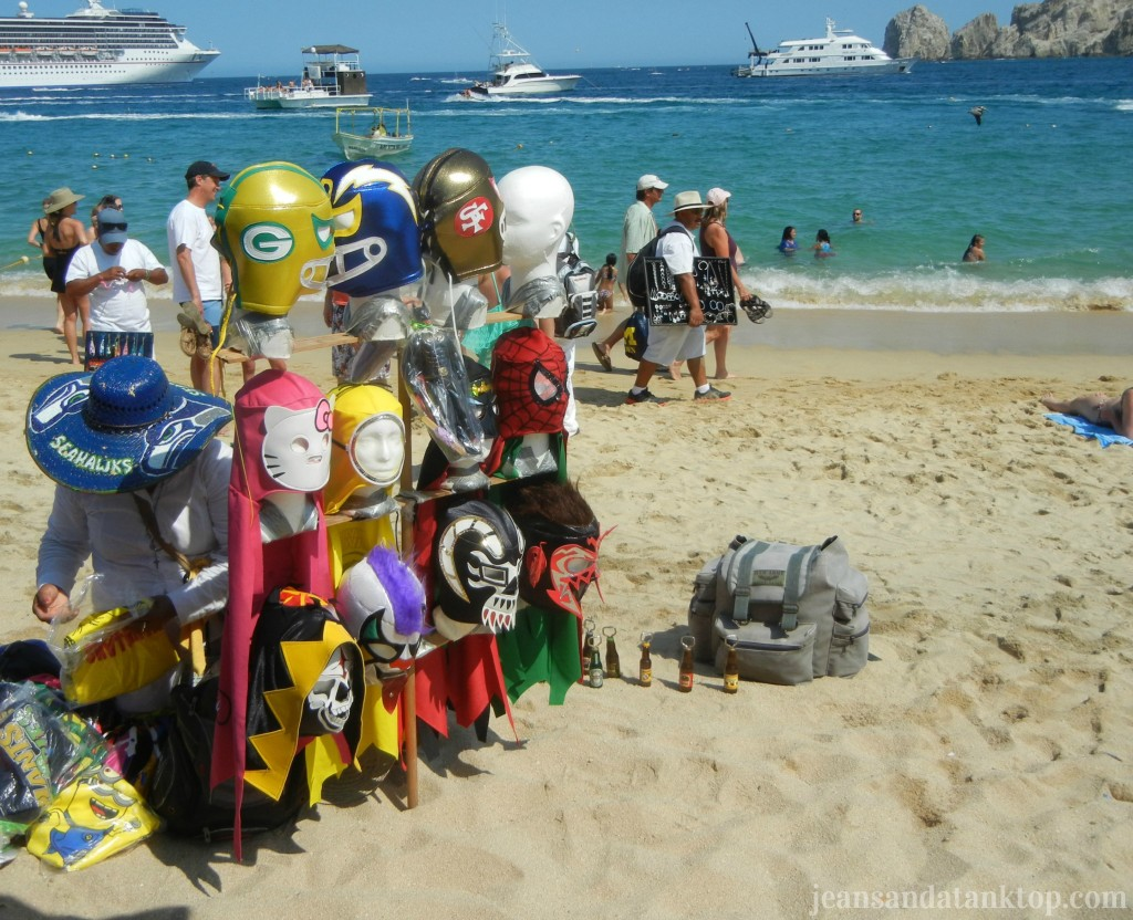 Playa El Medano - note the luchador mask vendor, the cruise ship, the water taxis, the swimmers, the yacht...