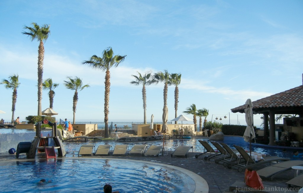 One of Pueblo Bonito's pools - kiddie pool in front, swim-up bar to the right