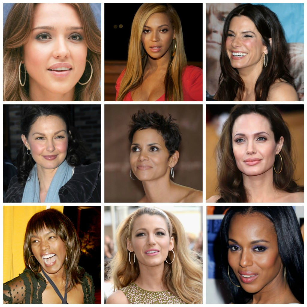 Celebs out of high school in hoop earrings