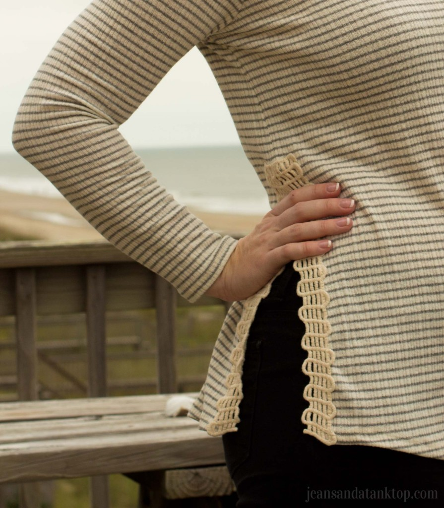 Papermoon Kealy Lace Detail Side Slit Knit Top 2