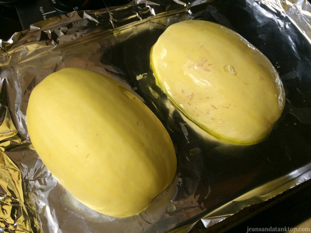 How to roast spaghetti squash flesh halves down