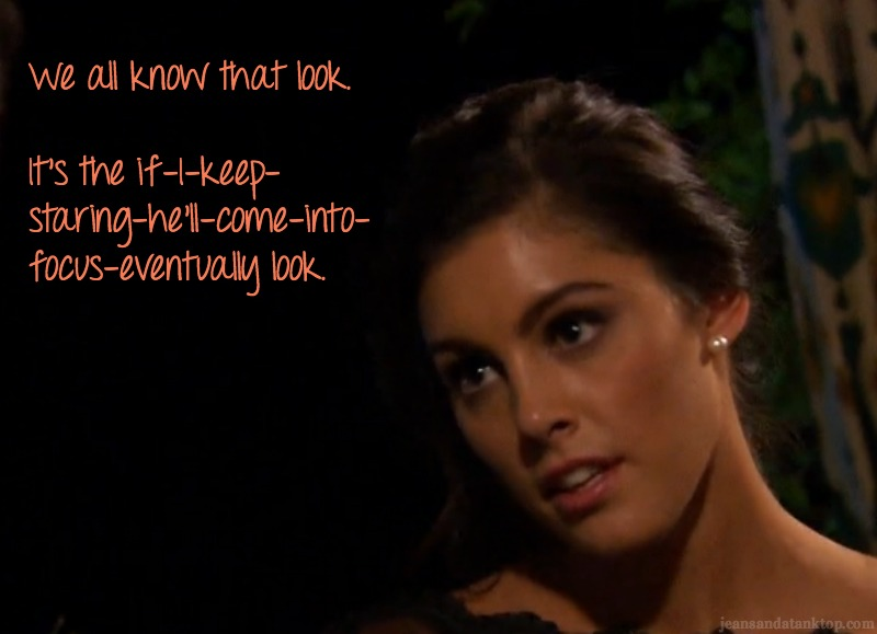 Lace Bachelor Season 20 drunk stare