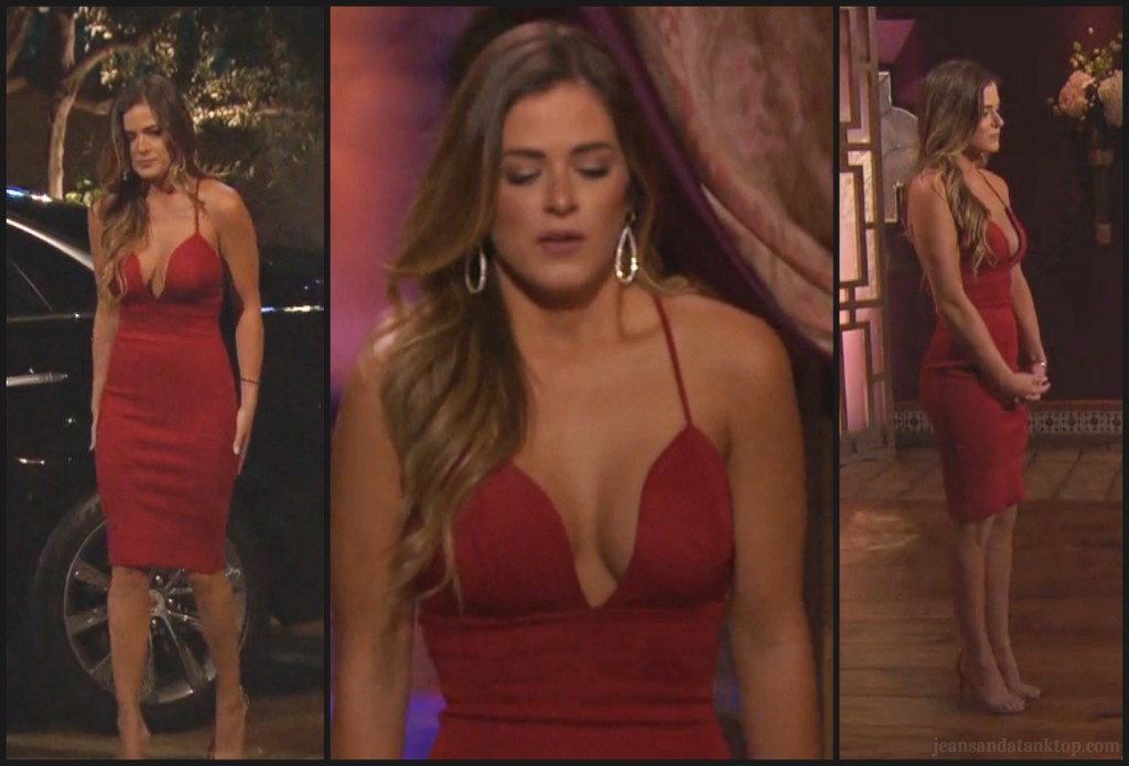 Bachelor Ben H JoJo red rose ceremony dress