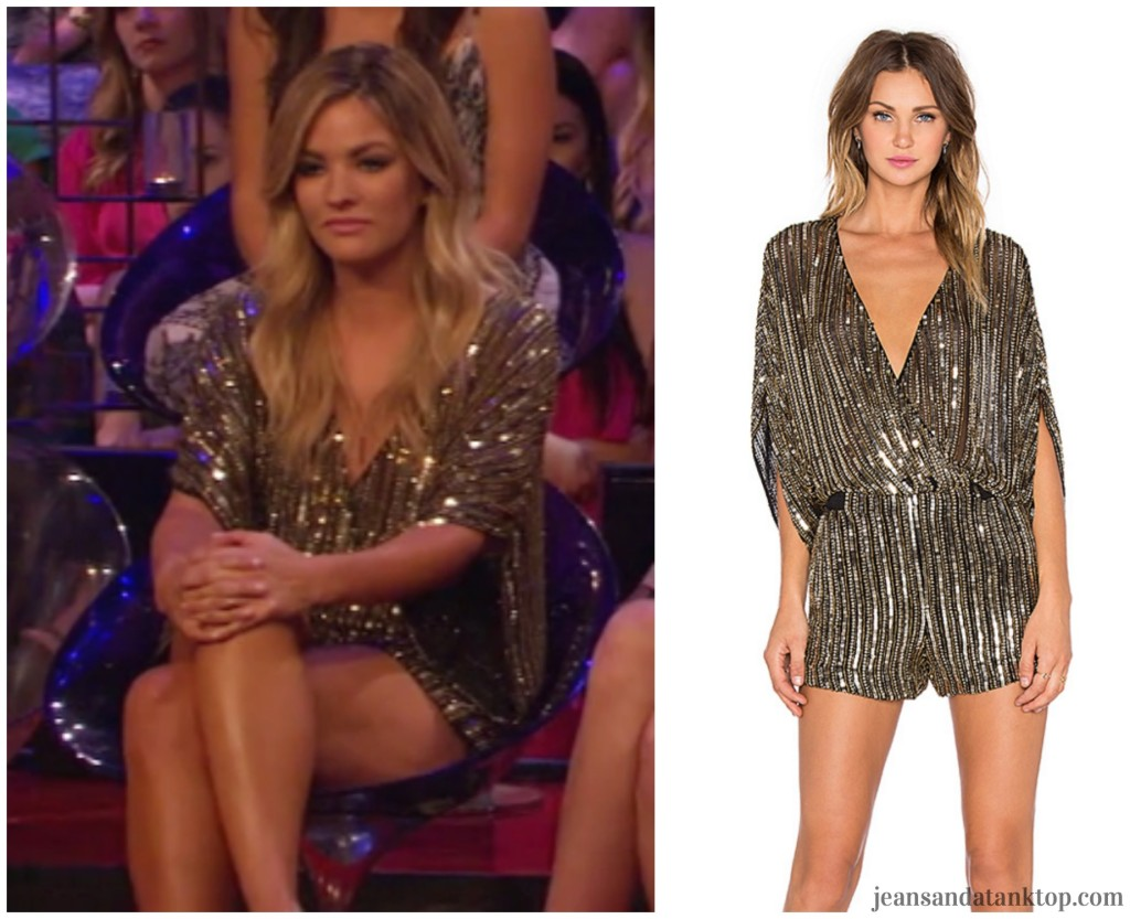 Bachelor Women Tell All Becca gold romper Parker