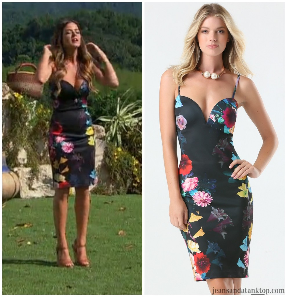 Bachelor Ben H JoJo Bebe black floral print midi dress
