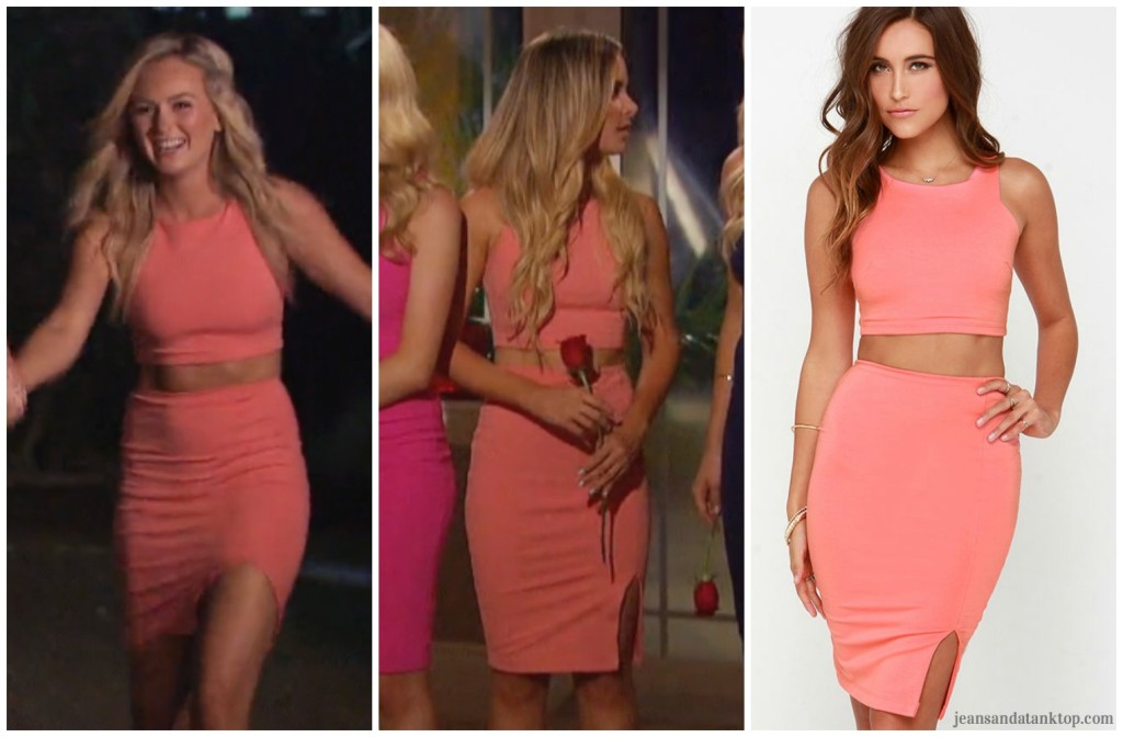 Bachelor Ben H Lauren B Amanda LuLus coral two piece dress