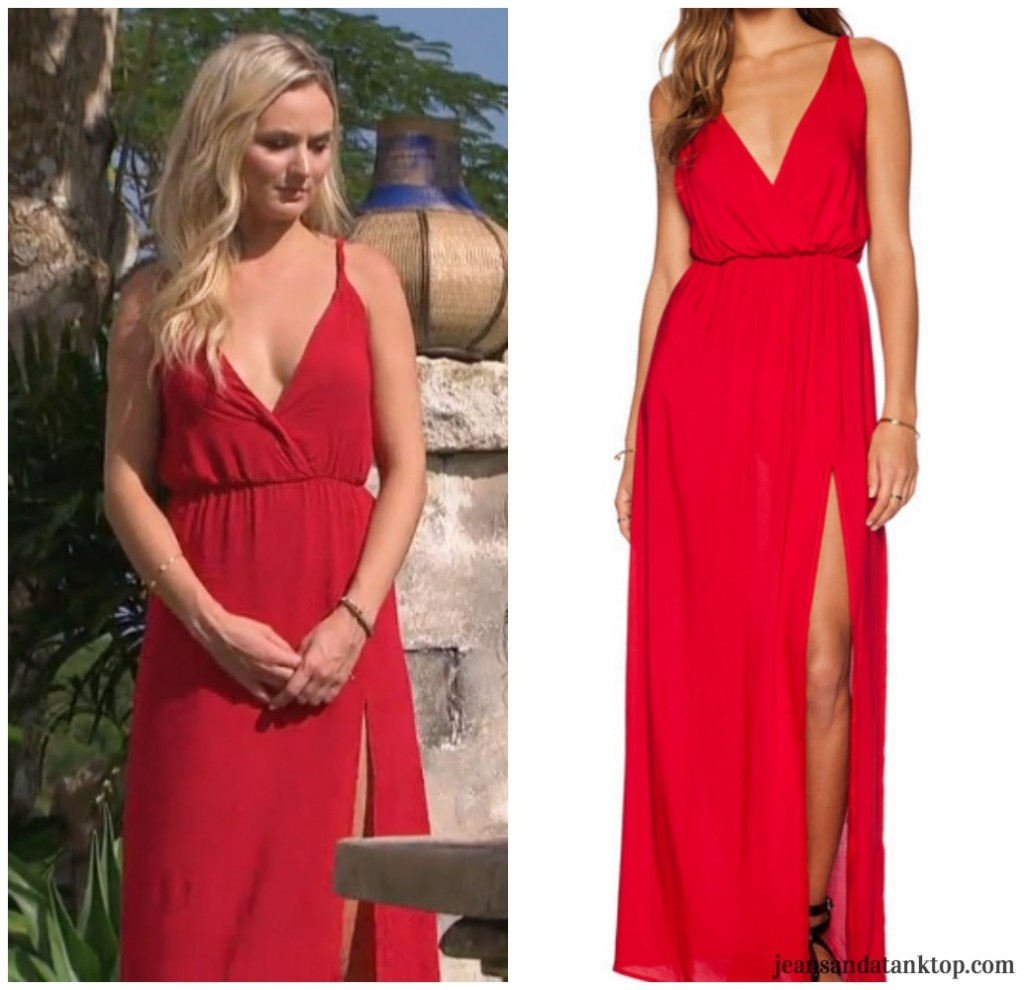 Bachelor Ben H Lauren B Romwe Red Deep V Maxi Dress