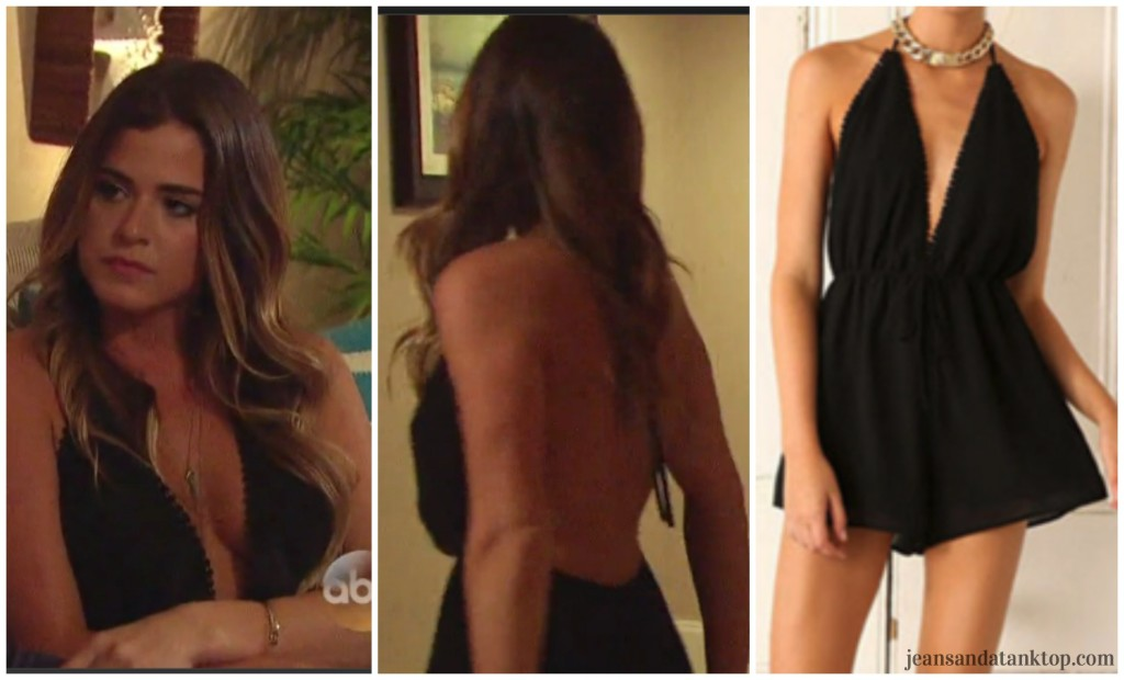 Bachelor Ben JoJo Finale black backless deep v romper