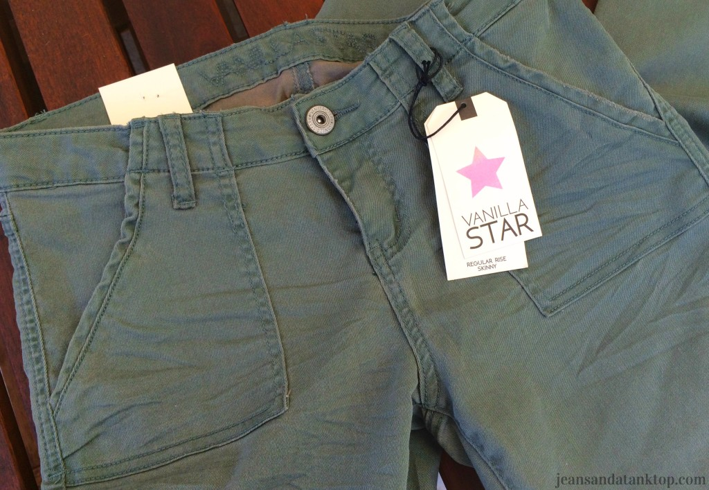 Vanilla Star army green regular rise skinny jeans