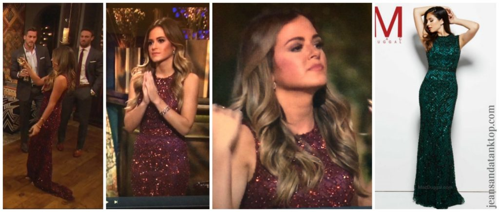 Bachelorette JoJo Episode 2 Rose Ceremony Mac Duggal garnet sequin beaded gown
