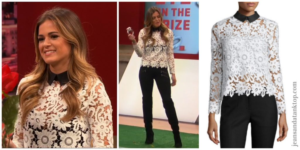 Bachelorette JoJo Episode 2 white lace top black zipper jeans