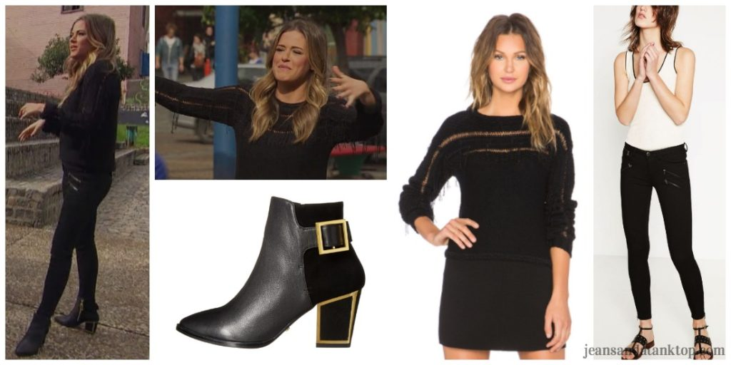 Bachelorette JoJo Episode 6 black biker jeans black fringe sweater black gold booties