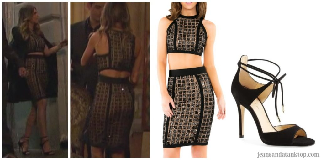 Bachelorette JoJo Episode 6 black gold two piece black strappy heels