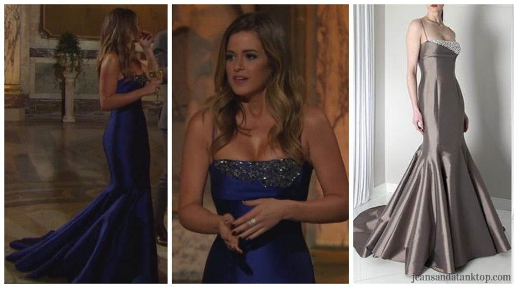 Bachelorette JoJo Episode 6 cobalt royal blue mermaid strap gown