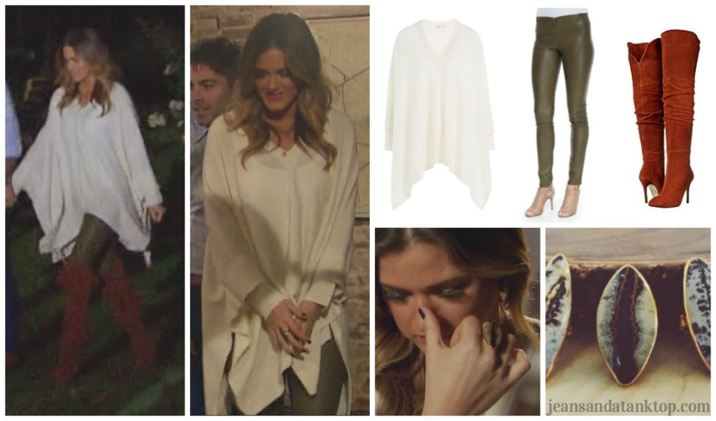 Bachelorette JoJo Episode 7 cream poncho cape green leather pants red boots