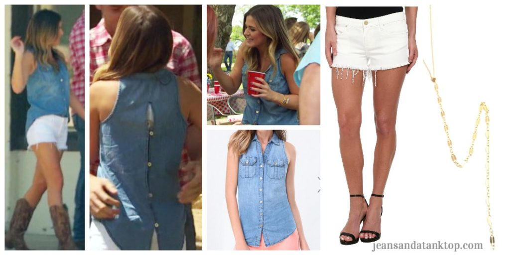 Bachelorette JoJo Episode 8 denim sleeveless shirt white shorts Burnet