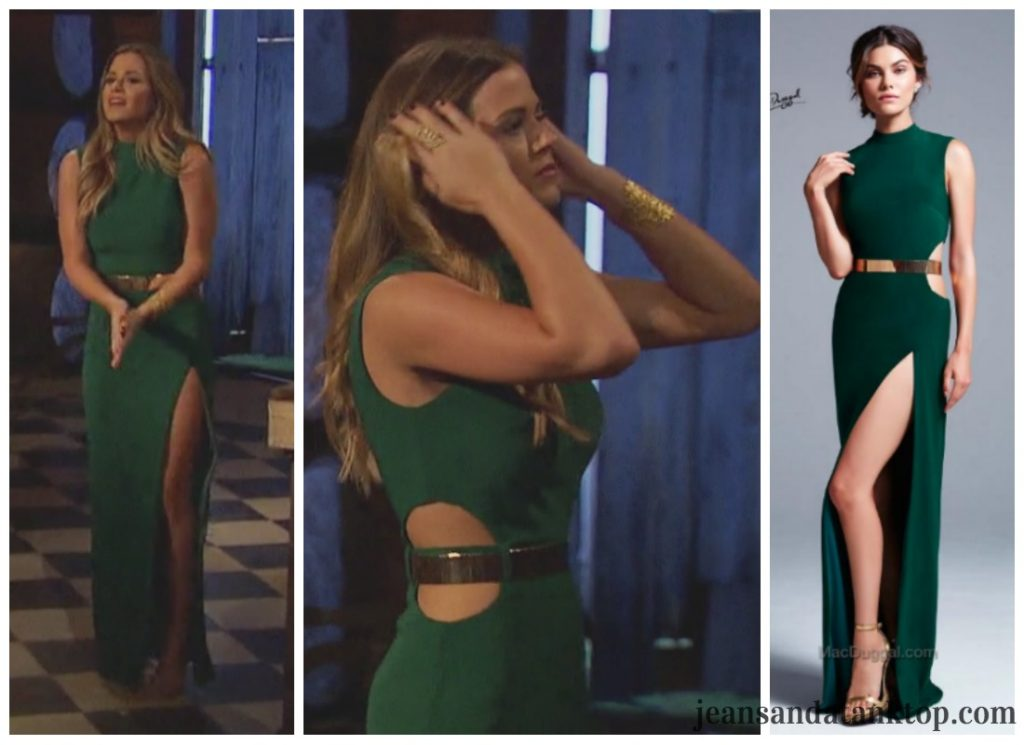 Bachelorette JoJo Episode 5 emerald green dress gold belt