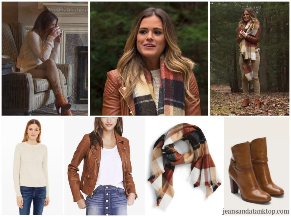 Bachelorette JoJo Episode 4 leather jacket plaid scarf