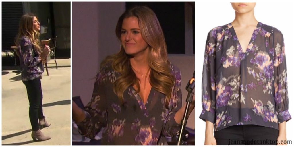 Bachelorette JoJo purple print sheer blouse