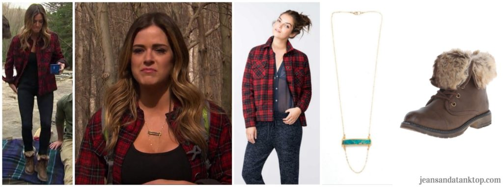 Bachelorette JoJo Episode 4 red plaid jacket hike black jeans fur boots