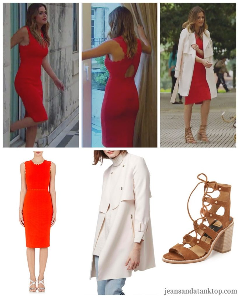 Bachelorette JoJo Episode 6 red scallop dress white trench strappy tie sandals