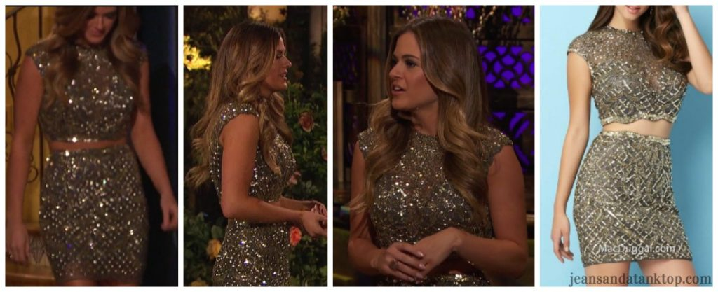 Bachelorette JoJo Episode 4 silver sequin two piece crop skirt