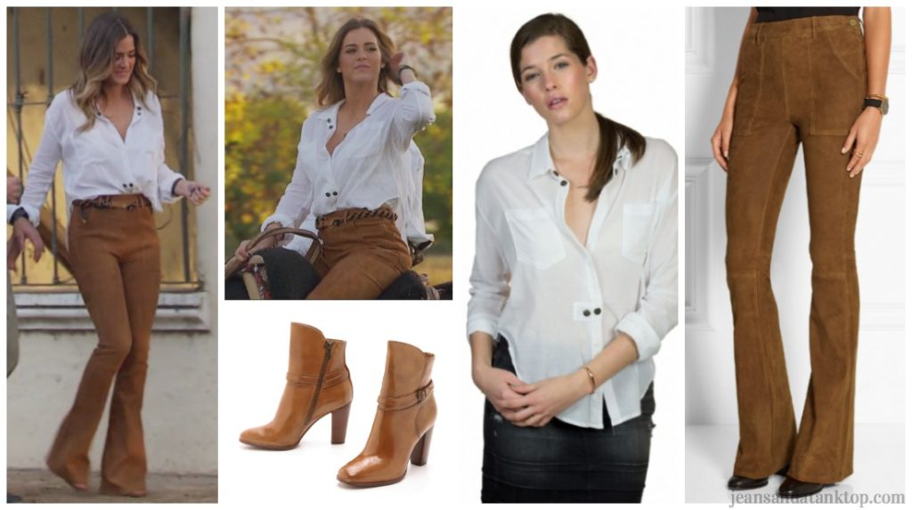 Bachelorette JoJo Episode 7 white button down suede camel flare bell pants