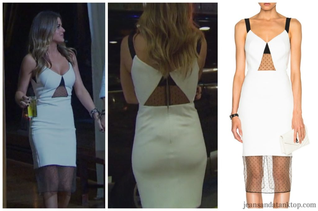 Bachelorette JoJo white cut out black mesh dress