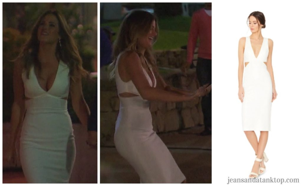 Bachelorette JoJo Episode 5 white v neck cut out dress