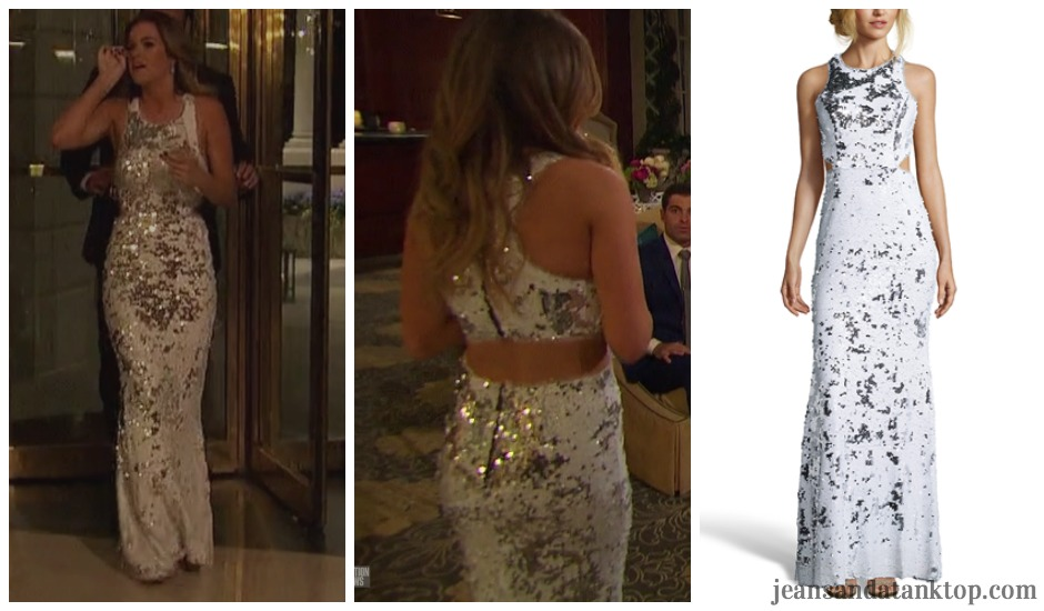 Bachelorette JoJo Episode 5 white sequin cut out gown Jay Godfrey