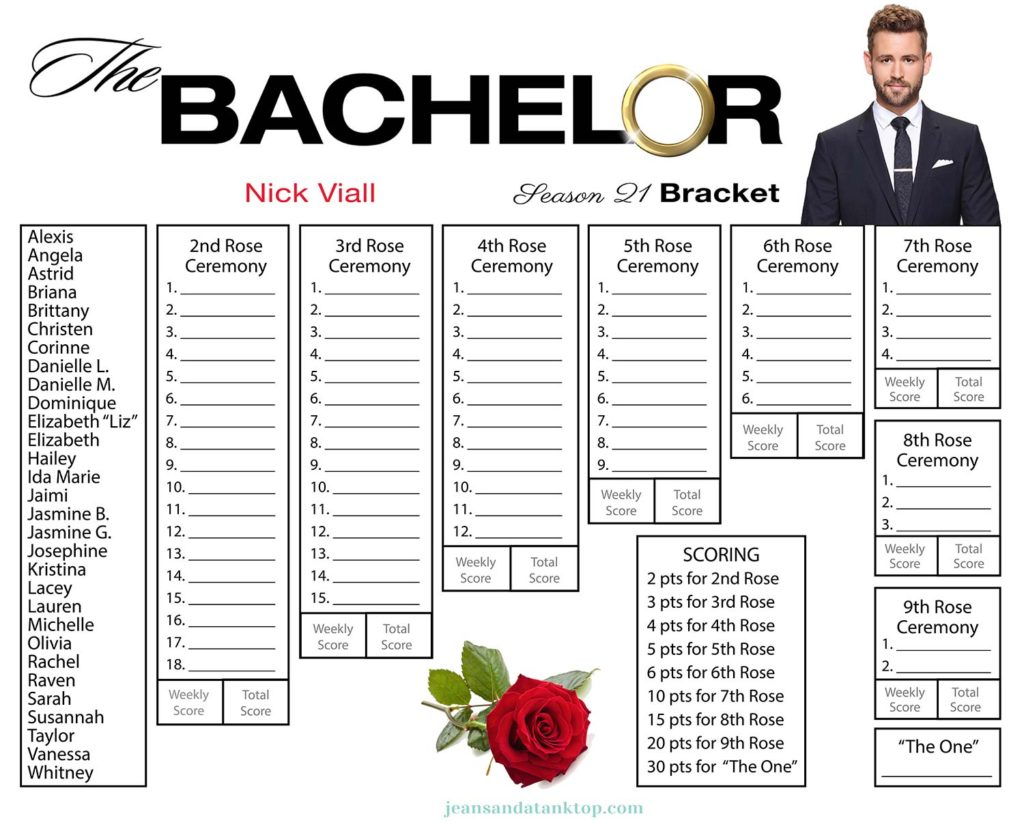 photo about Printable Bachelor Bracket identified as Bachelor Bracket - Year 21 - Nick Viall - Denims and a Tank Best