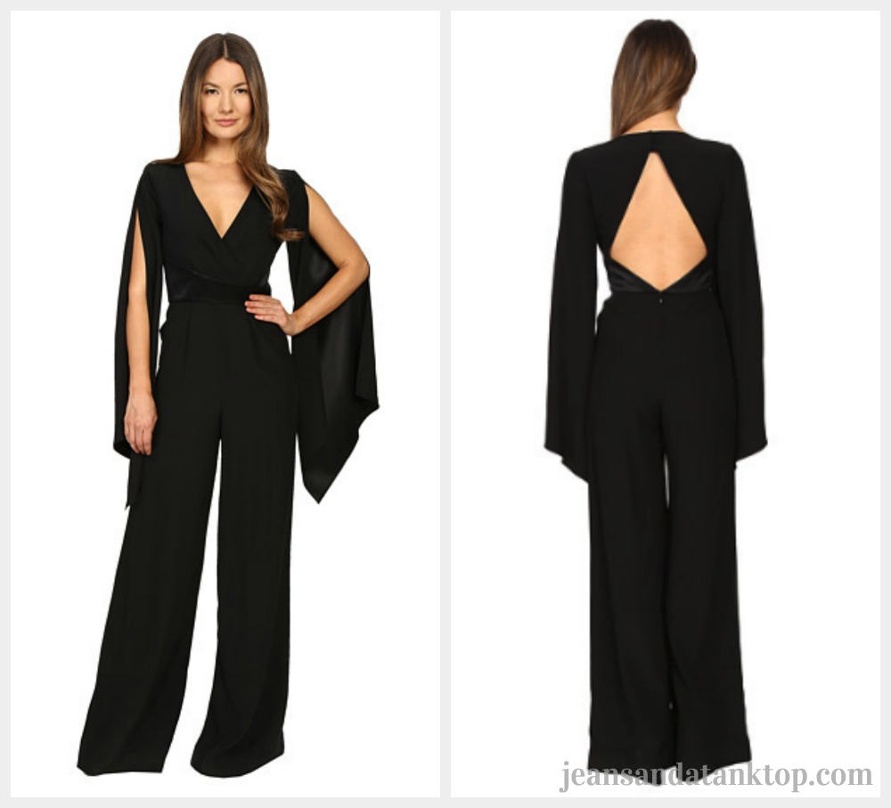 Bachelor After the Final Rose Rachel black v cape sleeve jumpsuit