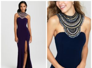 Bachelor Nick Season 21 Rachel Rose Ceremony Gown Navy Jewel Collar