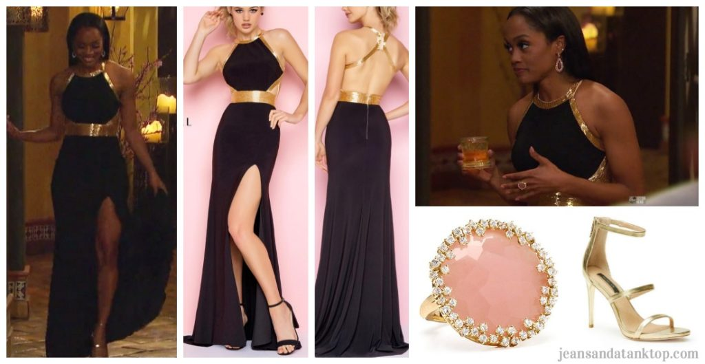 Bachelorette Rachel Fashion Episode 2 Black Gold Halter Gown