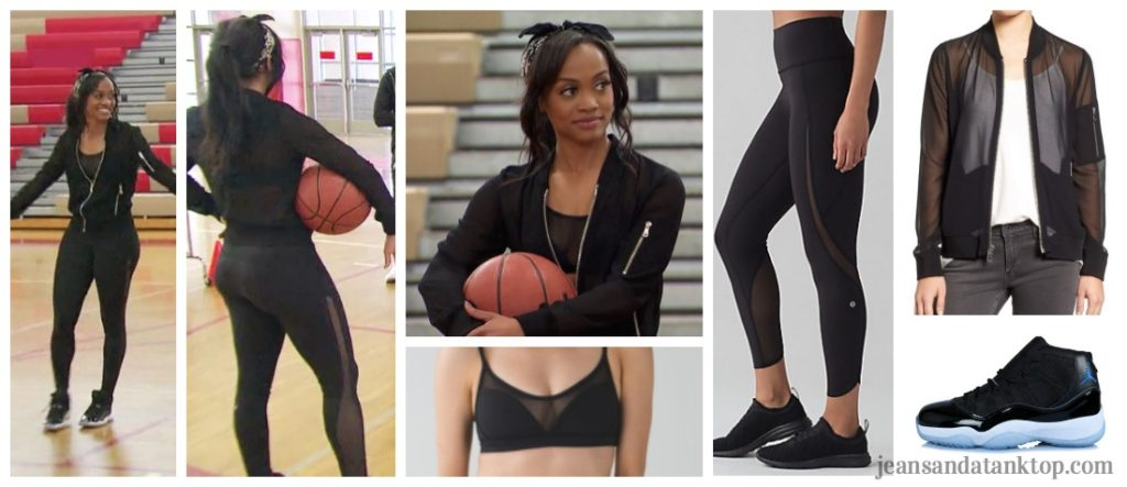 Bachelorette Rachel Fashion Episode 2 Black Yoga Pants Sports Bra Mesh Jacket
