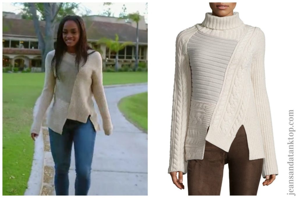 Bachelorette Rachel Episode 2 Joseph patchwork asymmetrical sweater