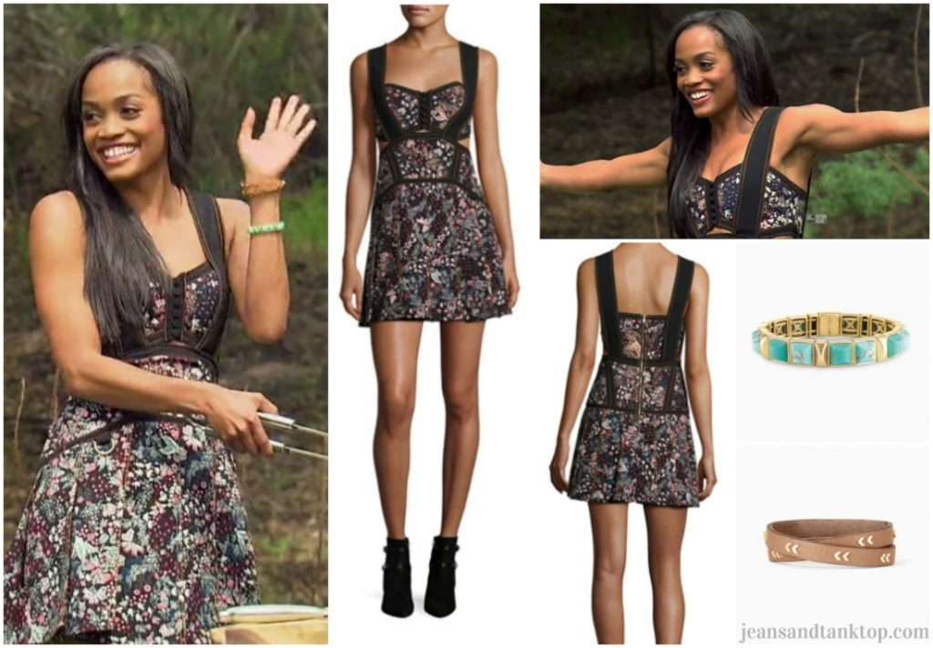Bachelorette Rachel Fashion Episode 2 Black Floral Self-Portrait Cut Out Dress
