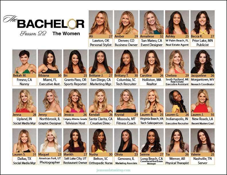 photo regarding Printable Bachelor Bracket identified as Bachelor Bracket - Year 22 - Arie Luyendyk, Jr. - Denims