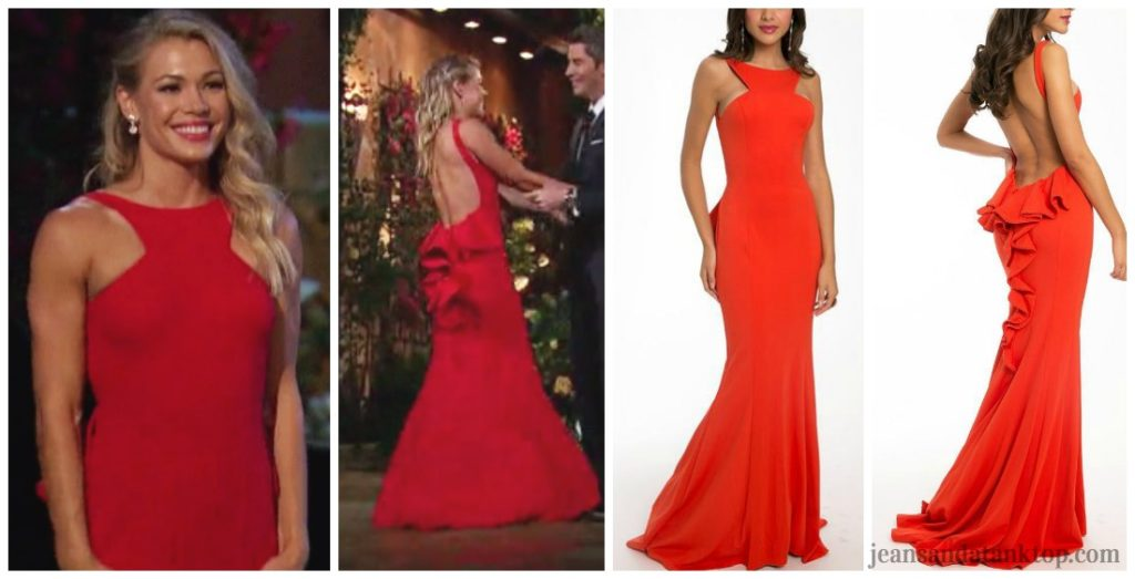 Bachelor Arie Krystal Red Jovani Open Back Bustle Halter Dress