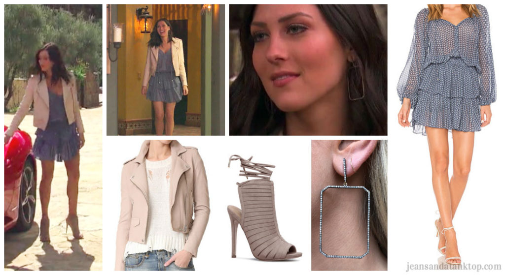 Bachelorette Becca Episode 1 Pink Leather Jacket  Blue Dress