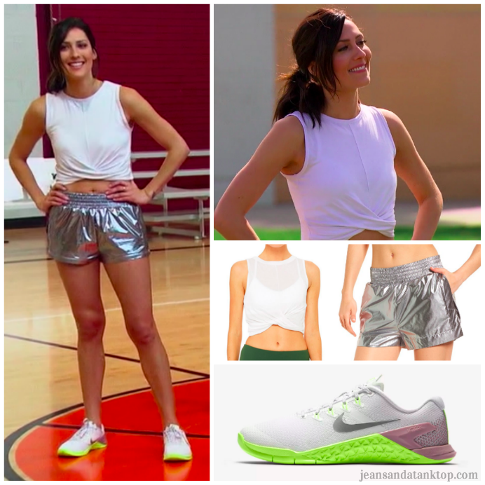 Bachelorette Becca Episode 2 silver shorts dodgeball