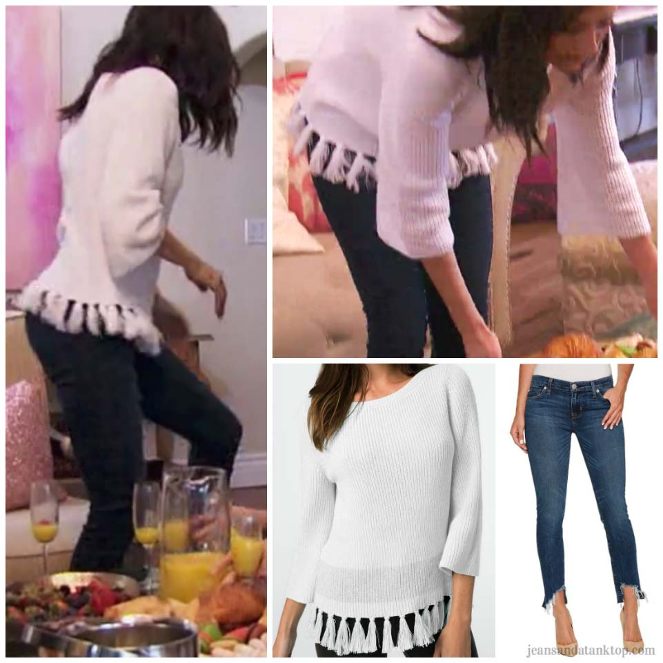 Bachelorette Becca Episode 3 white tassel sweater