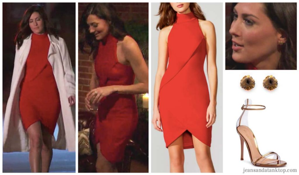 Bachelorette Becca Episode 3 red turtleneck dress