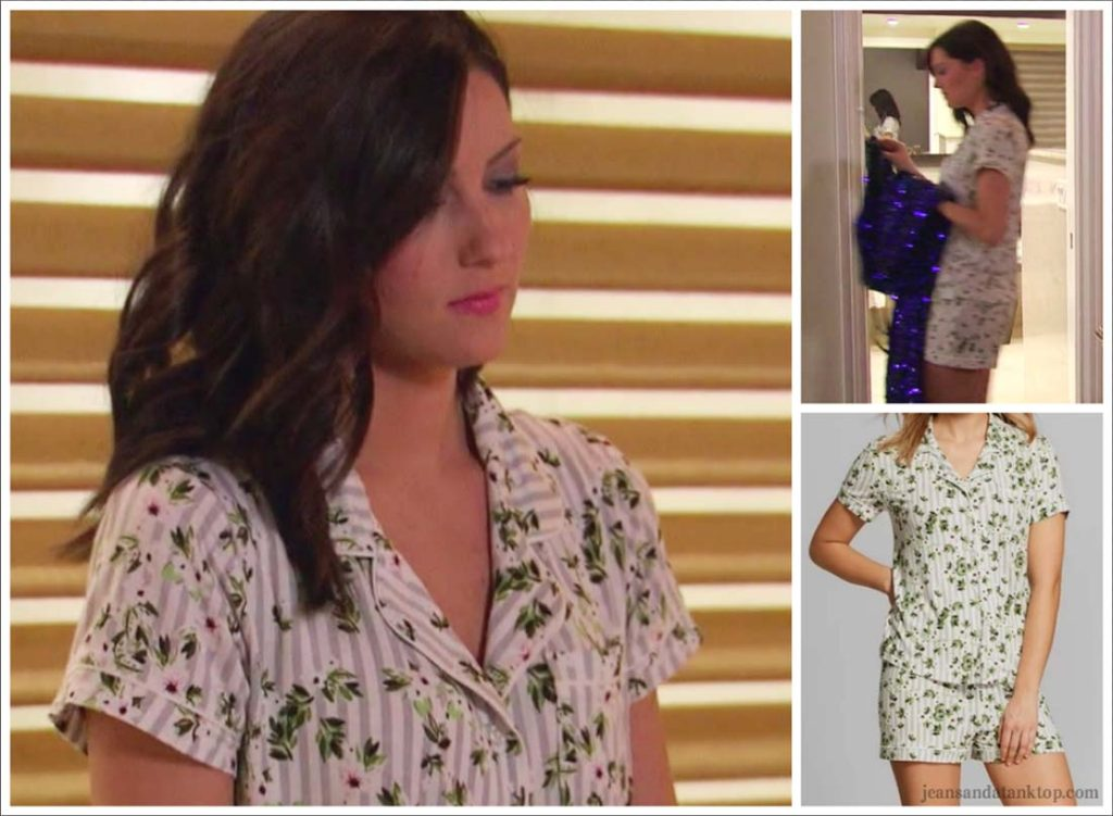 Bachelorette Becca Episode 2 floral striped pajamas