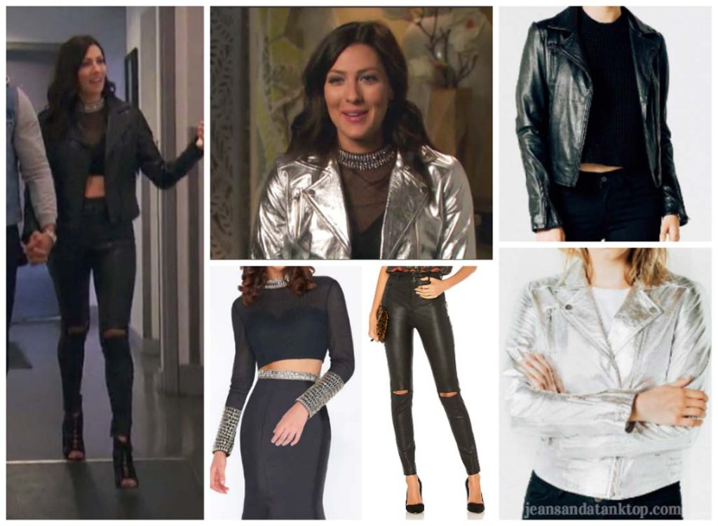 Bachelorette Becca Episode 3 leather jacket mesh crop top