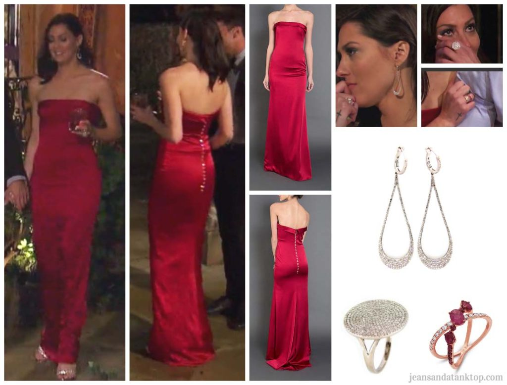 Bachelorette Becca Episode 3 red strapless gown