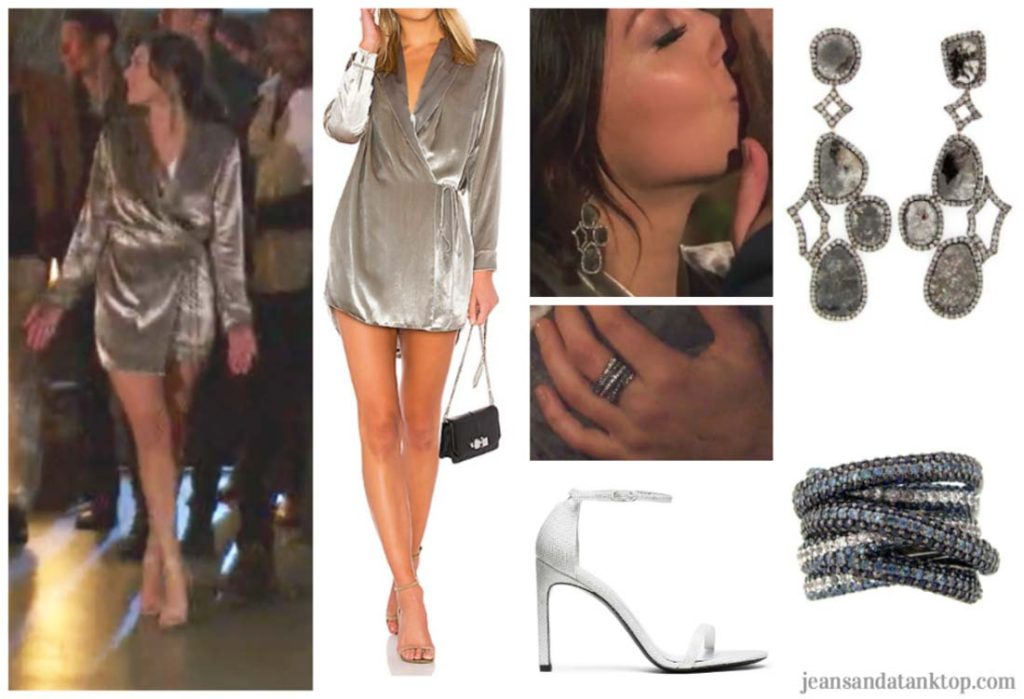 Bachelorette Becca Episode 3 silver robe wrap dress