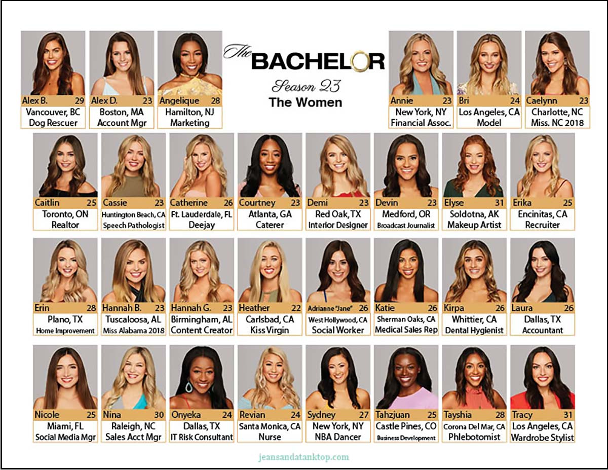 photo relating to Printable Bachelor Bracket called Bachelor Bracket - Period 23 - Colton Underwood - Denims and